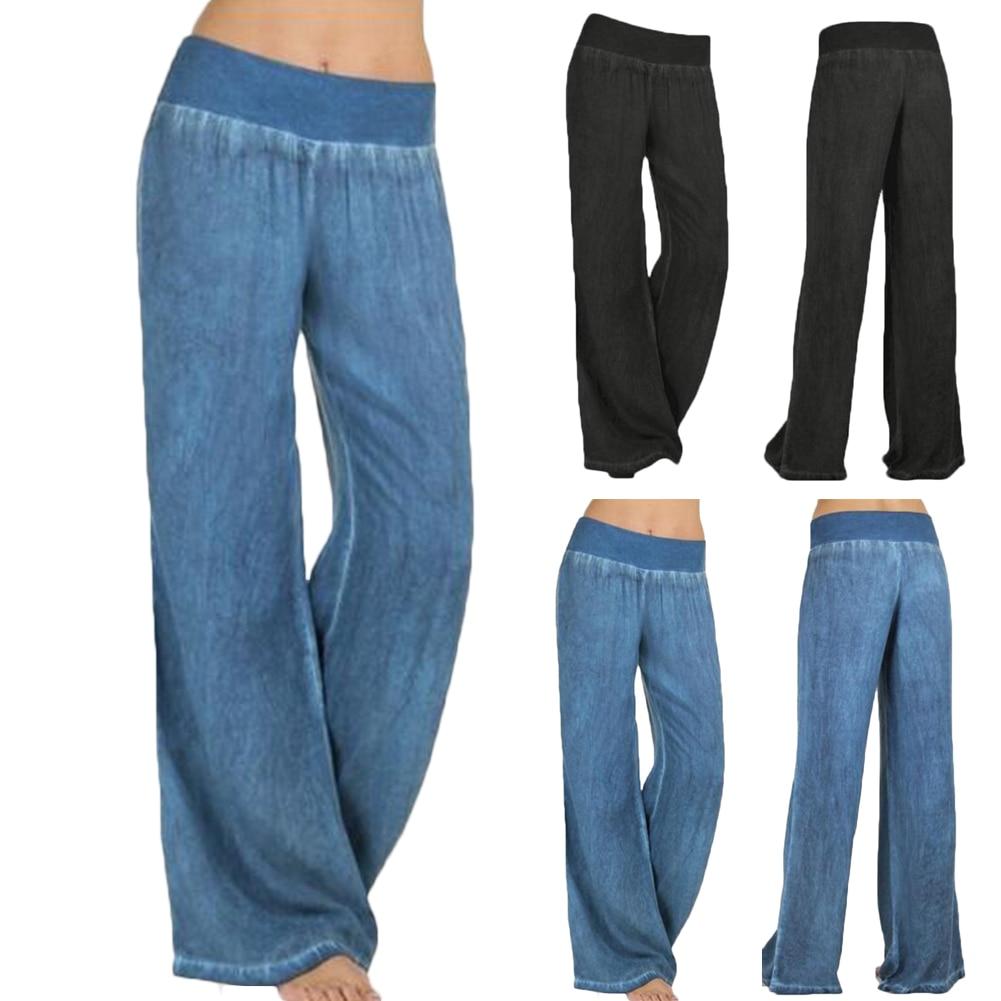 S-4XL Women Denim Pants Casual Loose Wide Leg Pants High Waist Stretch Jeans Blue Denim Trousers Wash Jeans For Woman Winter