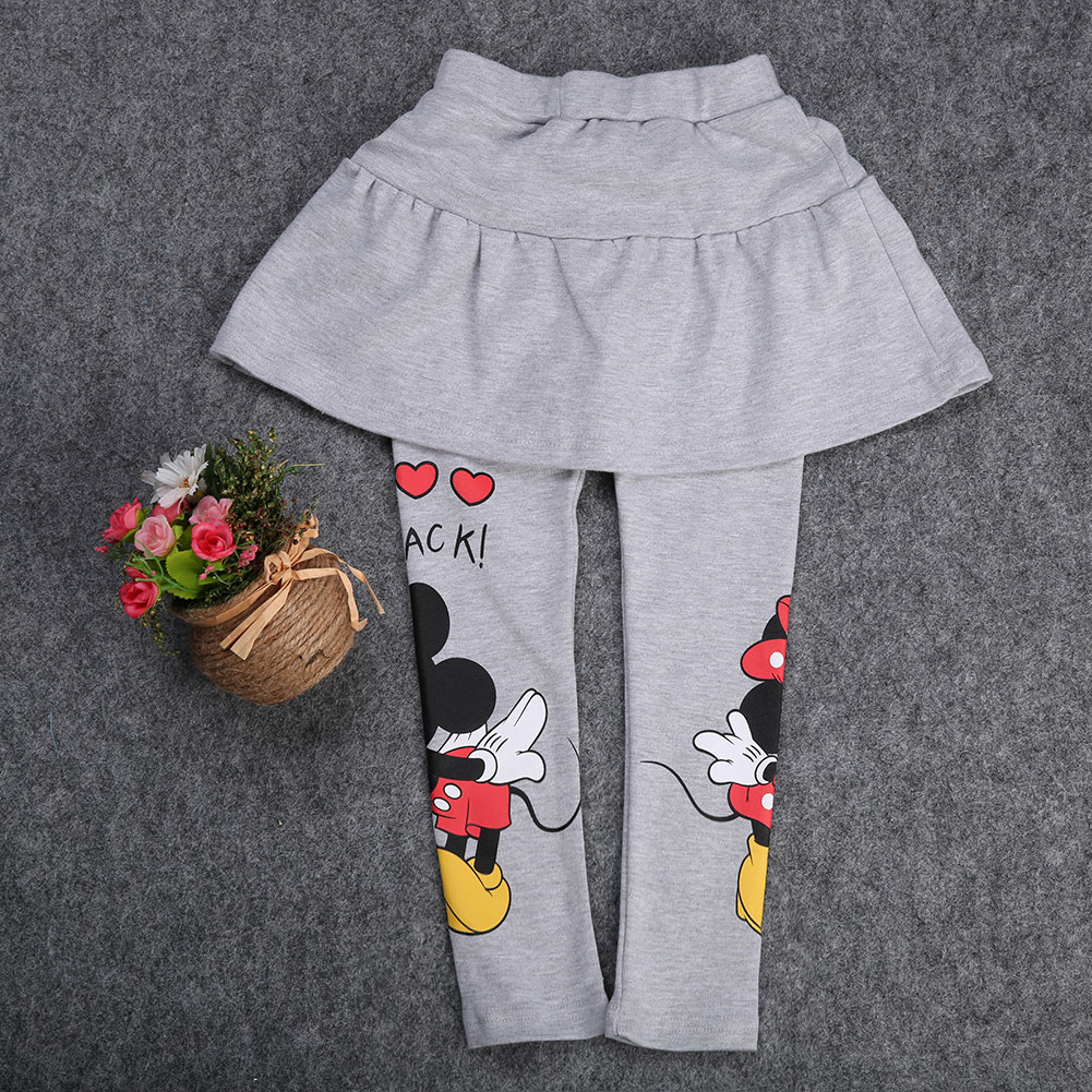 Pudcoco Girl Pants Spring Fall Girl Kids Clothes Stretch Skirt Pants Cartoon Mickey Minnie Leggings