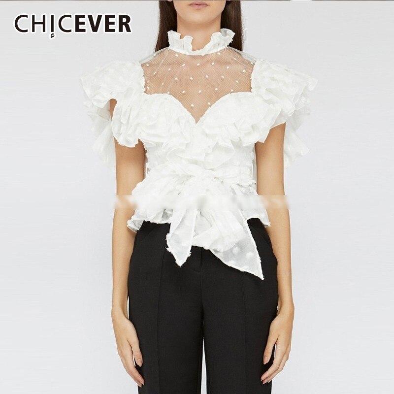 Femmes Stand Femme Col Blouses De Chemises Vêtements Tops Dot Manches Perspective Chicever Black red white Coréenne Blouses Polka Papillon Blanc Mode Blouses OqFxC8Y0