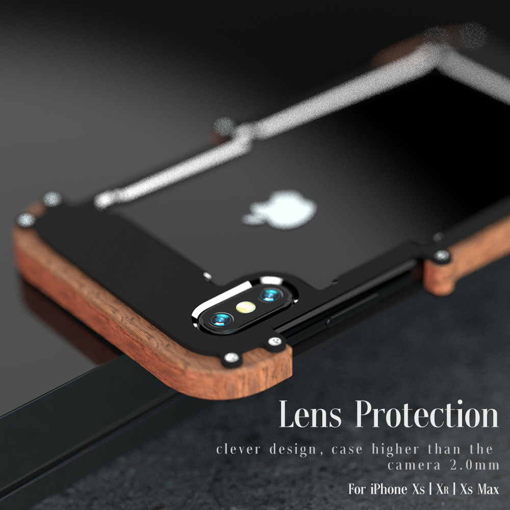 Newest Brand Shockproof Armor Wood Grain Aluminum Metal Bumper Frame Case Cover For iphone XS Shell Wood Frame R just
