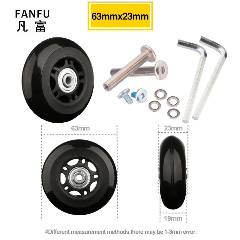 Travel Luggage Wheel With  Screw Trolley Suitcase Wheels Suitcase  Black Wheels Repair Replacement For Accessories 63*23 Casters