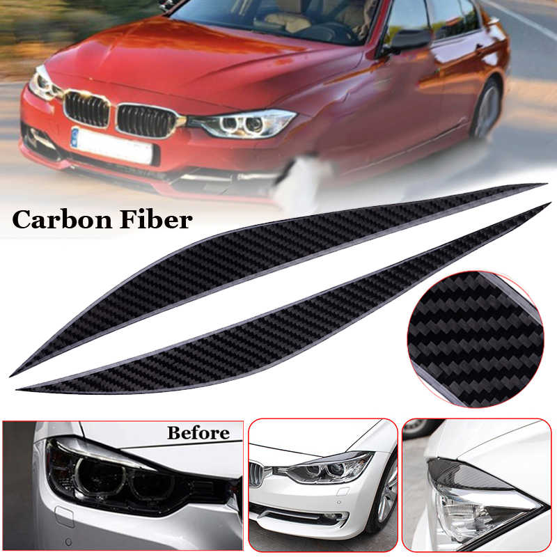 Glossy Carbon Fiber Front Headlight Eyebrow Eyelid Cover For BMW F30 F34 13-17