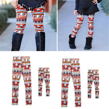 a11292102fa6f3 2019 Fashion Family Matching Mother Daughter Pants Print Capris Snowman  Trousers Women Girl Leggings Christmas Leggings