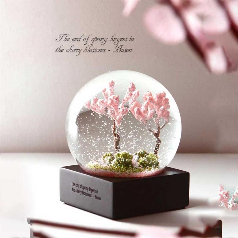 Четыре сезона хрустальный шар стекло вода снег глобус Весна Розовый Cherry ня цветет лето цветок осень золотой кленовый лист зима белый