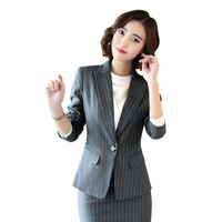 2019 Direct Selling Turn down Collar Full The New 2019 Autumn/winter Suit For Manager Ms Overalls Female Professional Striped