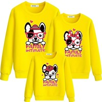 2019 winter Family Matching Outfits Cute Dog Print Dad Mom Son Daughter mommy Girl Leisure Family Look A02BW