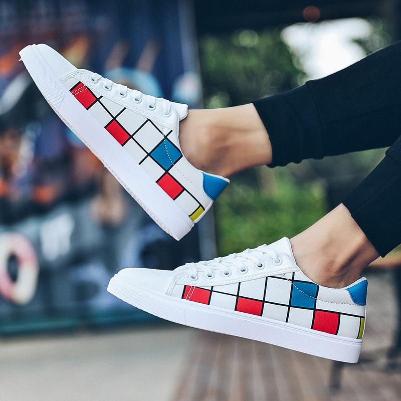 À Plat Hommes blanc Pu Garçons Lacets Mode Vulcaniser Chaussures Décontractées Loisirs Coudre Plaid Respirant Printemps Noir Sneakers Autumm wXwq58T