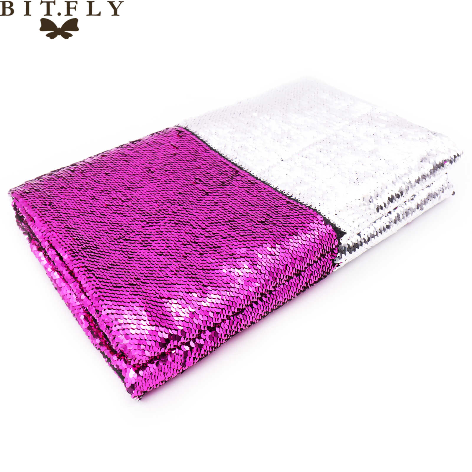 BIT.FLY 1.3x0.5m Wedding DIY Decoration Reversible Mermaid Fish Scale Sequin Fabric Paillette Fabric For Dress/Cushion/Clothes