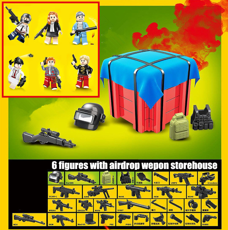 New 6pcs/lot Pubg Game Airdrop Box Military Army Weapons Fit Legoings Pubg Army Figures City Building Bricks Block Toys Kid Gift Model Building