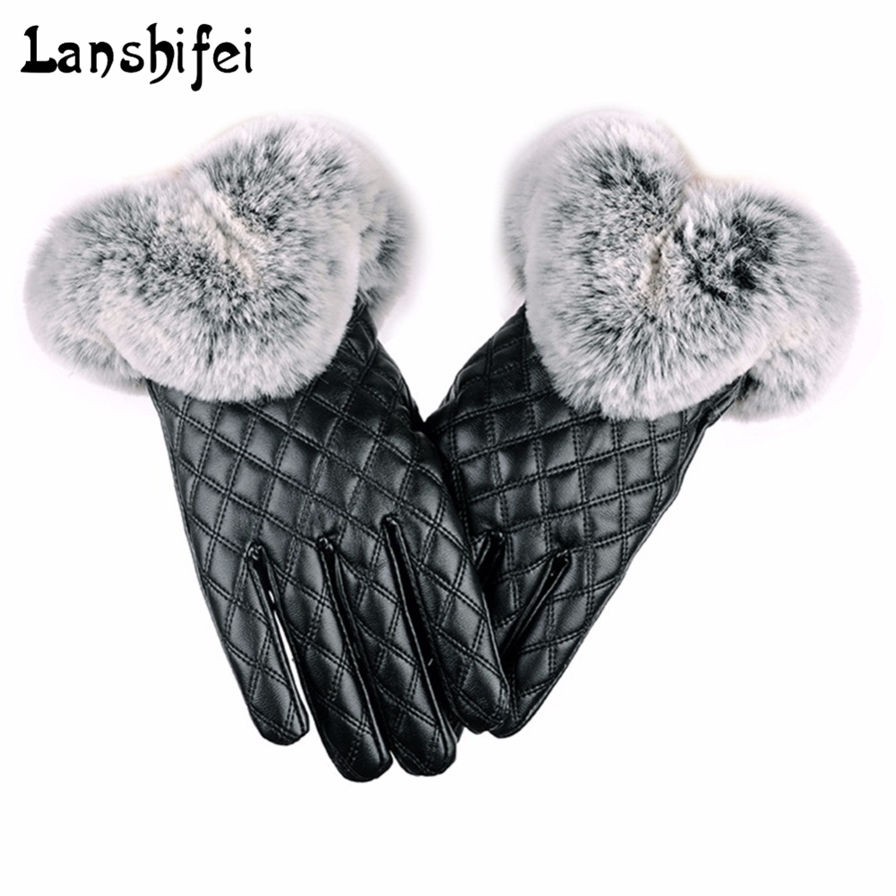 Women Thickening Winter Gloves Fashion Warm Thicken Elegant PU Leather High Quality Faux Fur Wrist Warm Women's Leather Gloves
