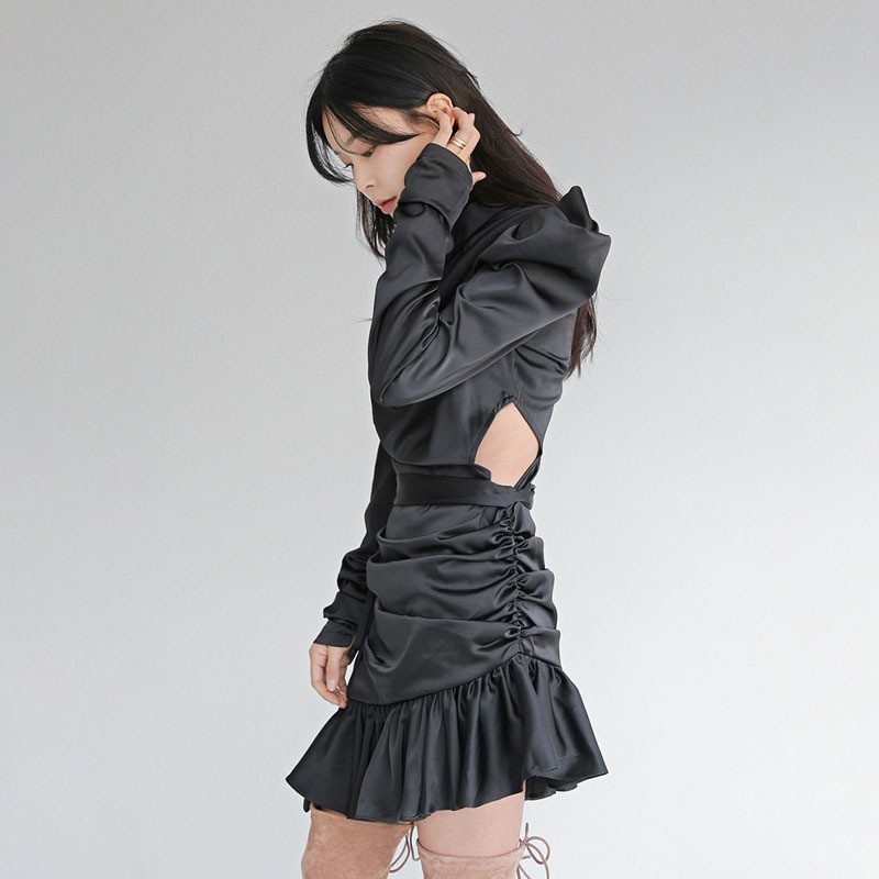 TWOTWINSTYLE Asymmetrical Dress Female Bowknot Puff Long Sleeve Bandage Ruffle Hem Black Dresses Women 2019 Spring Fashion New-in Dresses from Women's Clothing    3