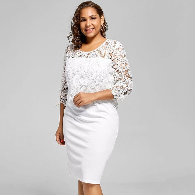 Women Bodycon Dress Elegant 3XL Summer Party Evening Slim White Office Simple Fashion Ladies Sexy girl Hollow Lace Dress Spring