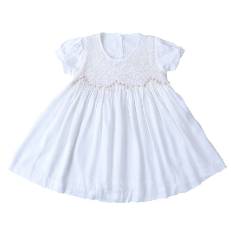 baby smocked dress white cotton emboridery fllower Kids Dresses For Girls clothing kids wedding Dress Party