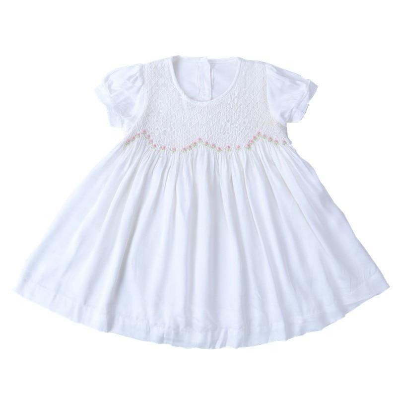 baby smocked dress white cotton emboridery fllower Kids Dresses For Girls clothing kids wedding Dress Party