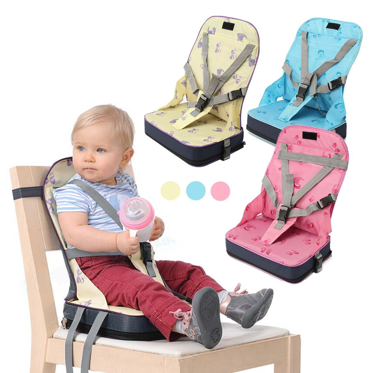 Baby Toddler Foldable Dining High Chair Feeding Booster Seat With Harness Safety Pink/Yellow/Blue Fiber Cloth+Nylon+Sponge