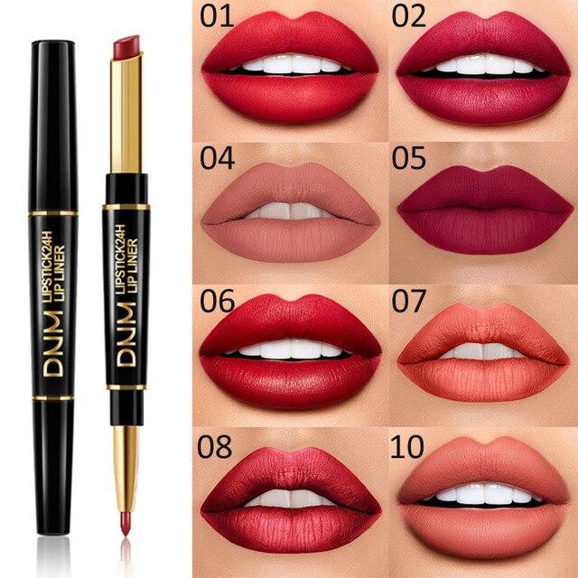 DNM 2 in 1 Lip Liner+Lipstick Long-lasting Waterproof Matte Lip Liner Pen Moisturizing Makeup Contour Cosmetics 12 Colors TSLM1 5