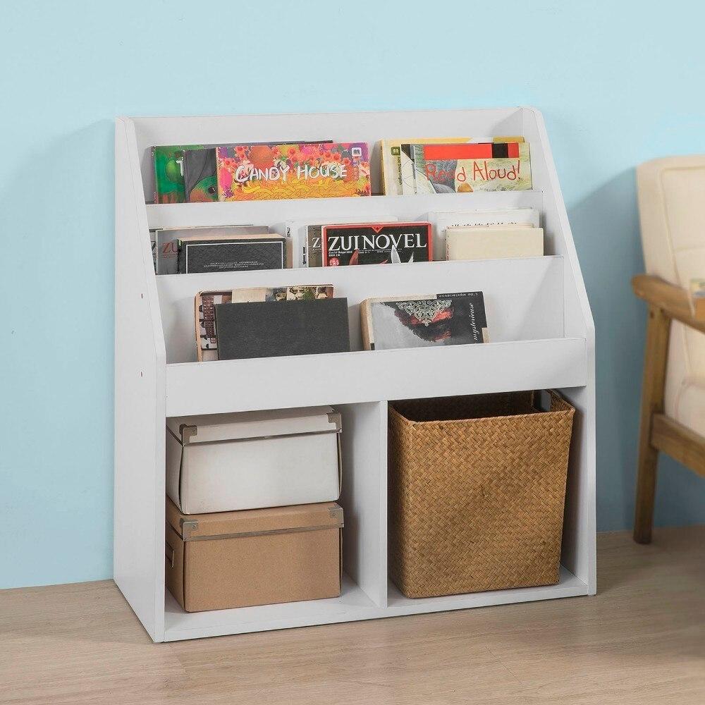 SoBuy KMB01-W, White Wood Children Kids Bookcase Book Shelf Storage Display Rack Organizer Holder