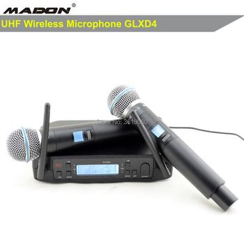 Darmowa wysyłka bezprzewodowy mikrofon GLXD4 600-699 MHz podwójny bezprzewodowy system mikrofonowy 2 kit tanie i dobre opinie MADON Mikrofon ręczny Dynamiczny Mikrofon Scen Mikrofon Bezprzewodowy Dopasowane Pary Dookólna wireless GLXD4 BETA58A