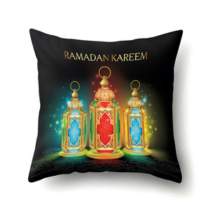 Image 4 - Ramadan Decoration Eid Mubarak Moon Mosque Polyester Cushion Cover Decorative Cushions Pillow for sofa Living Room Cushion 40832
