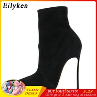Eilyken 2019 Autumn Winter Women Boots Stretch Fabric Thin Heels Boots Fashion Ankle Boots High Heels Shoes Woman Sapatos