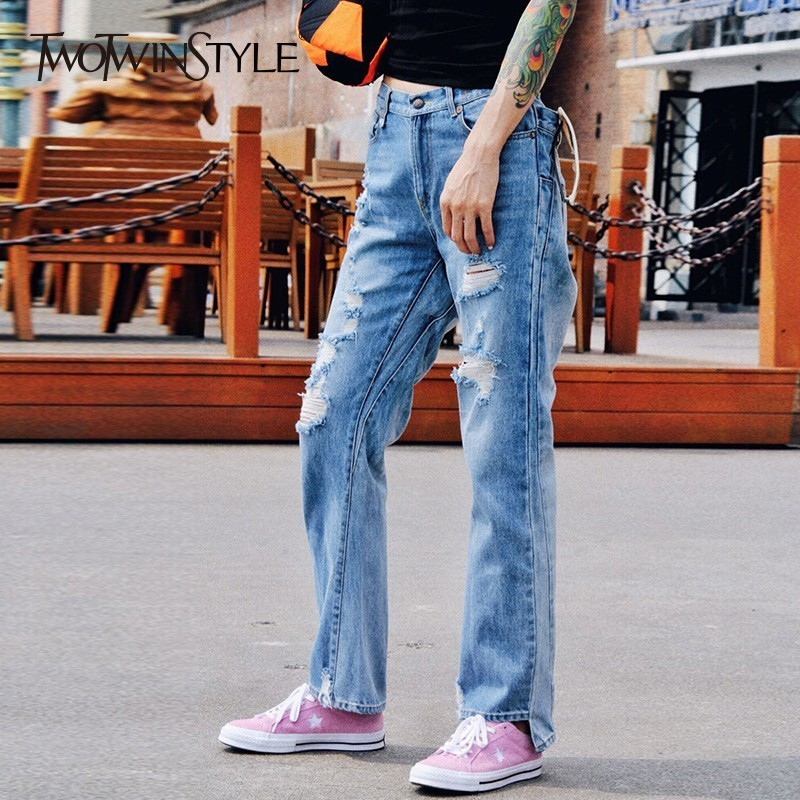TWOTWINSTYLE Jeans Female High Waist Ripped Bottom Asymmetrical Denim Trouser For Women Korean Casual 2019 Spring Fashion New
