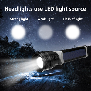 Image 5 - Solar/USB Powered Flashlight Rechargeable Solar Flashlights 18650 Torch For Outdoor Camping Mobile Power Bank Built in Battery