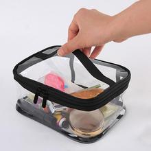 Waterproof Transparent PVC Bath Cosmetic Bag Women Zipper Makeup Bags Organizer Bath Wash Make Up Toiletry Case