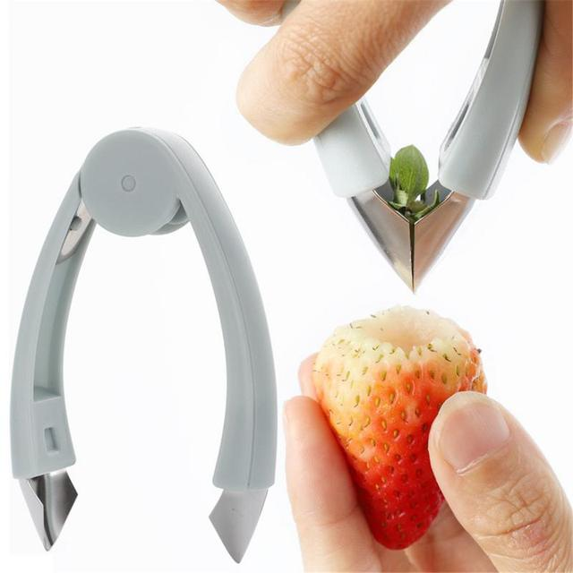 Multi-function Pineapple Cutter Tomato Fruit Leaf Stem Remover Gadget Tweezer Kitchen Tool Strawberry Shelling Machine Slicer