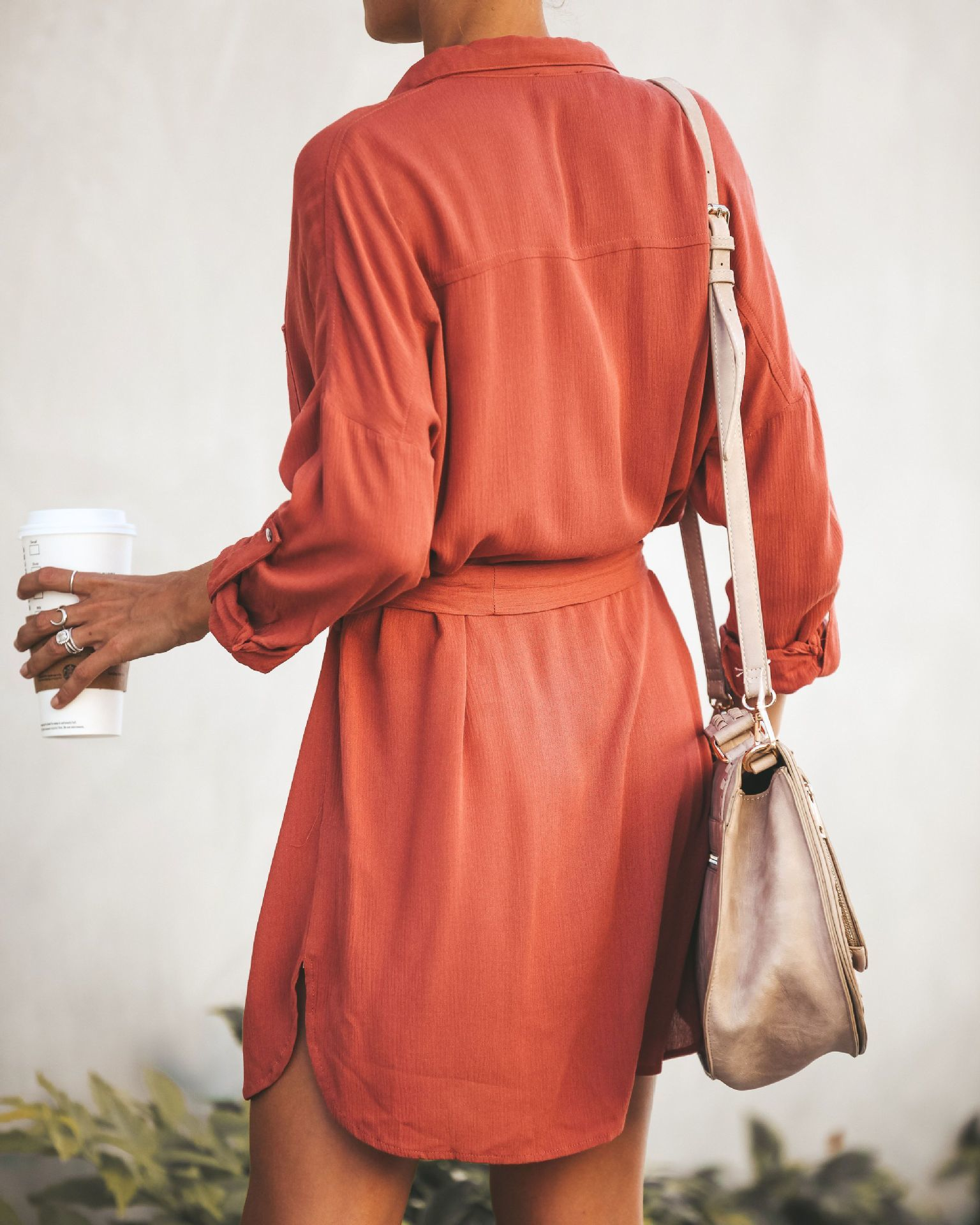 Botón para arriba vestido naranja nudo Hem camisa Vestido Mujer manga larga Oficina señoras vestidos de trabajo 2019 elegante mujeres Mini vestido