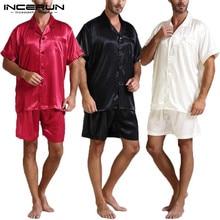 Silk Satin Men Pajamas Sets Fashion Sleepwear Suit Soft Short Sleeve Homewear Tops Shorts Two Piece Men Loungewear Pajama S-5XL