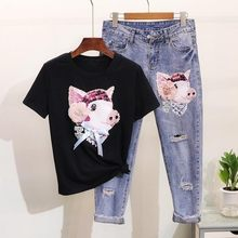 L-4XL Large Size Women Sequined Beaded Lace Up Piggy Cartoon T-Shirts Black T Shirts + Hole Ripped Pants Jeans Suits 2 Piece Set(China)