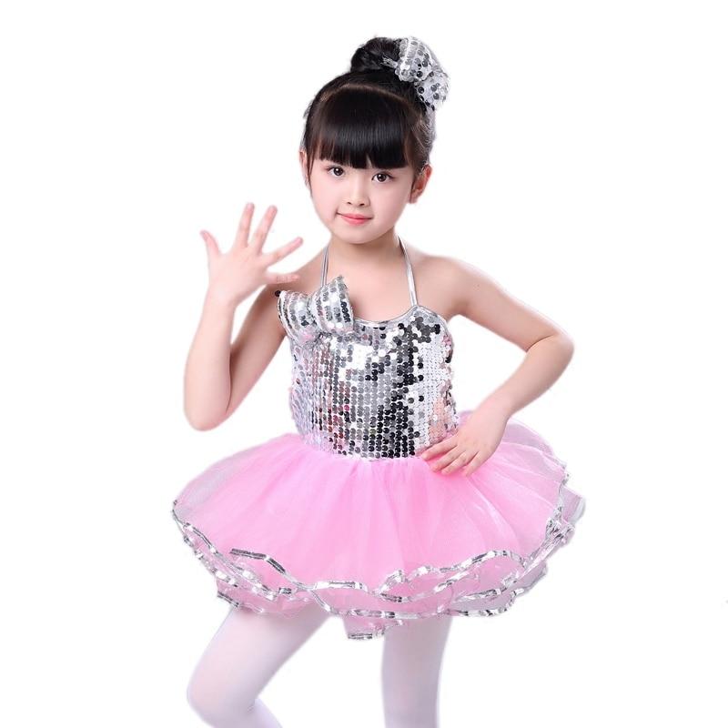 TiaoBug Kids Girls Sequin Latin Choir Jazz Dance Costumes Outfit Ballet Leotard Dress Tutu Skirt Dancewear