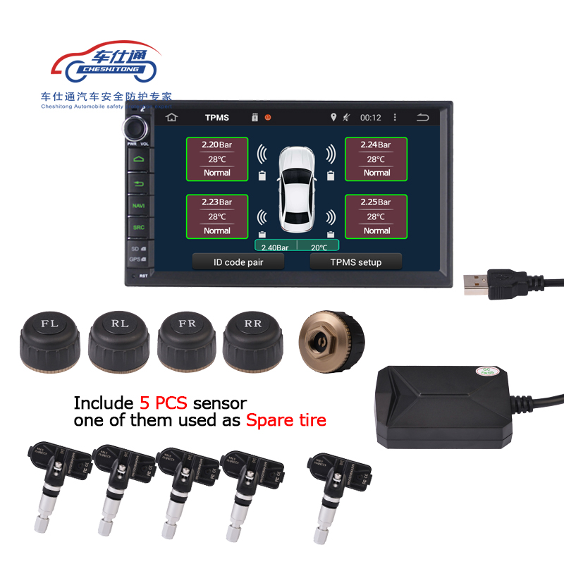 5 PCS Sensor USB Android TPMS Tire Pressure Monitor/Android Navigation Tire Pressure Monitoring Alarm System Support Spare Tire