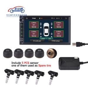 Image 1 - 5 PCS חיישן USB אנדרואיד TPMS צמיג לחץ צג/אנדרואיד ניווט צמיג לחץ ניטור אזעקה מערכת תמיכה חילוף צמיג