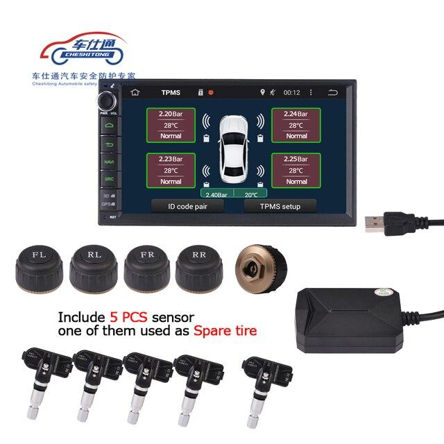 5 uds. De Sensor USB Android monitor de presión de neumáticos TPMS/Android, sistema de alarma para supervisión de presión de neumáticos, compatible con neumático de repuesto