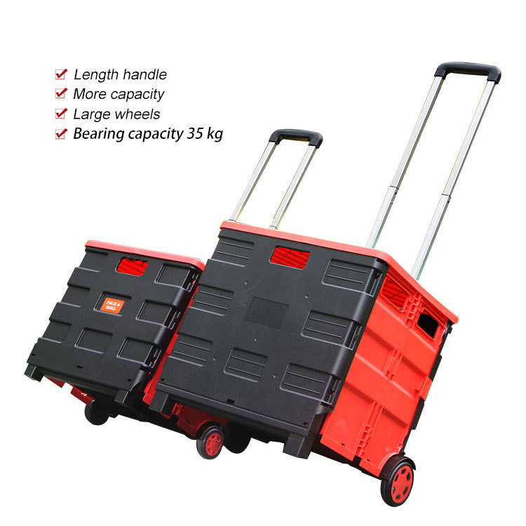 Storage Box Shopping Cart with rubber wheel Folding Shopping Trolley with cover PP Material Domestic Trolley with Adjust Handle