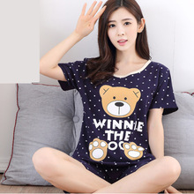 Summer Pajama Set Women Stripe Cartoon Printed Short Cotton Pajamas Bear Animal Sleepwear Suit Thin