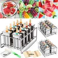 10 Molds Stainless Steel Popsicle Mold Reusable Ice Cream Making Mould DIY Ice Lolly Makers Molding Machine+100Pcs Wood Stick