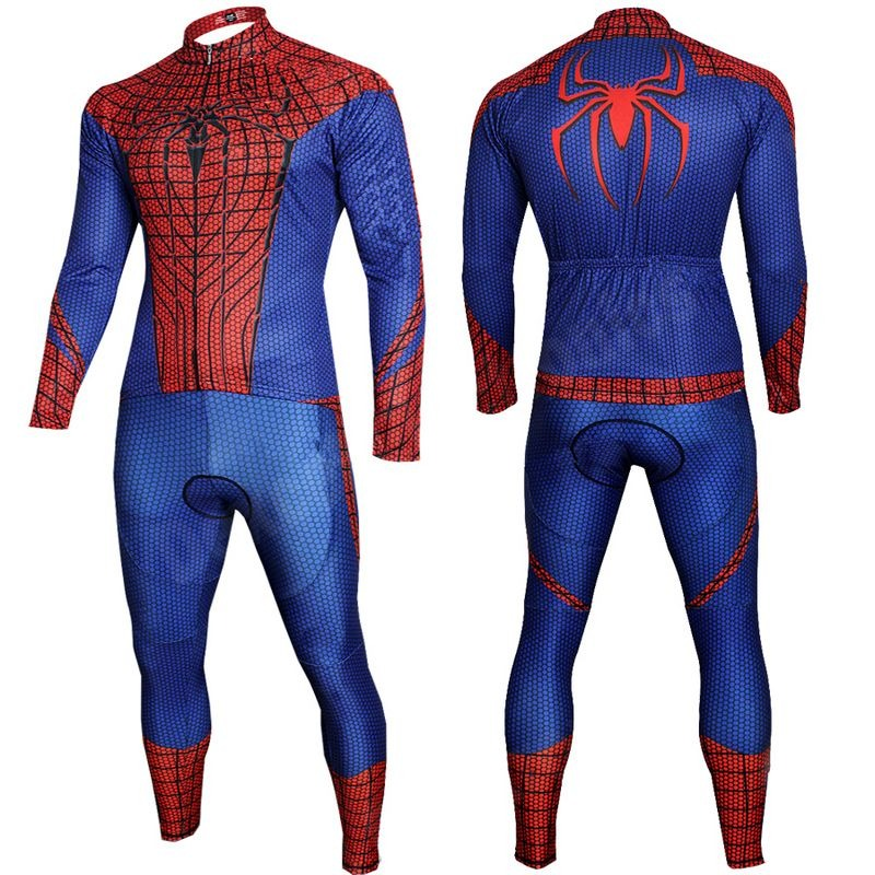 Spiderman The Avengers Superhero Blue Spiderman long Sleeve Bike Cycling  Jersey Pants Set 5753fe663