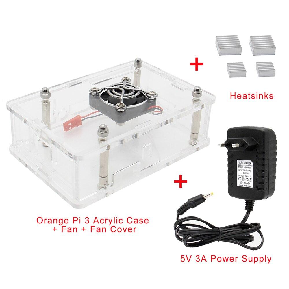Orange Pi 3 Acrylic Case With Power Supply Set, Protective Shell+Fan+Heatsink+5V 3A Power Supply/ Power Adapter For Orange Pi 3(China)