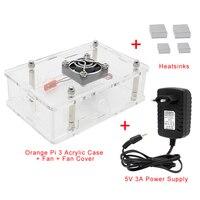 Oranje Pi 3 Acryl Case met Voeding Set  beschermende Shell + Fan + Heatsink + 5V 3A Voeding/Power Adapter voor Oranje Pi 3