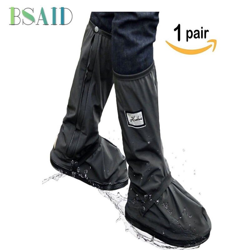 BSAID Waterproof Men Reusable Shoe Covers Zipper Non-slip Rain Cover For Shoes Boots Overshoes Motorcycle Cycling Shoes Covers