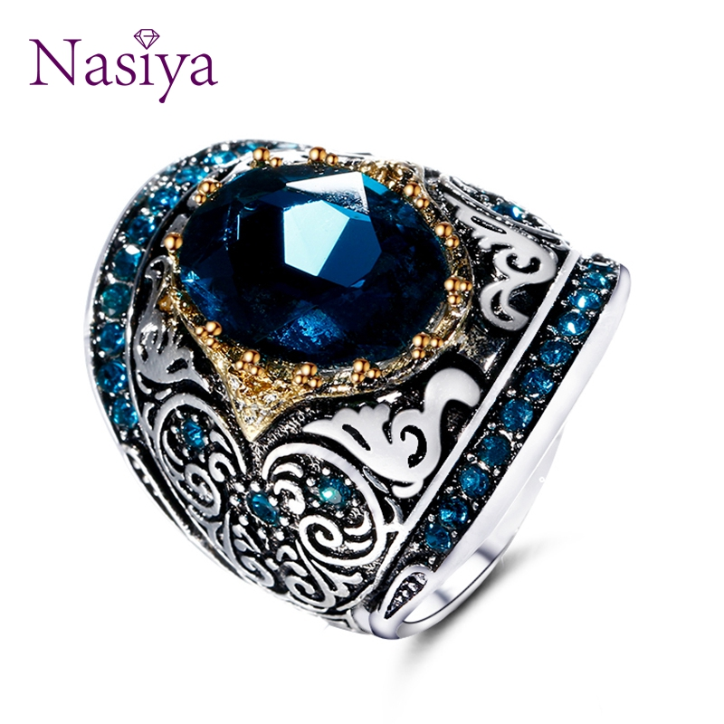 Nasiya Peacock Blue Gemstone Rings For Women Men's Aquamatine 925 Silver Jewelry Ring Vintage Gift For Mother Grandmother