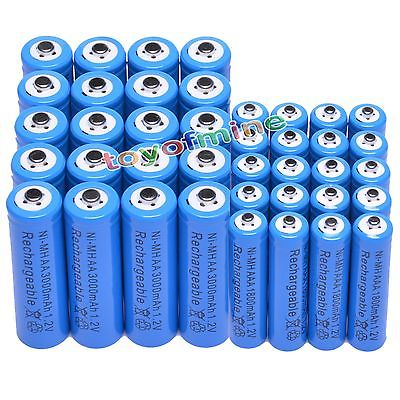 4/8/16/20/24/48pcs AA 3000mAh + AAA 1.2V 1800mAh NiMH Blue Rechargeable Battery Cell for RC toys led flashlight torch light