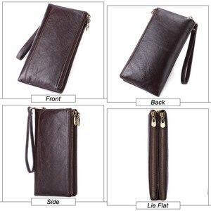 Image 4 - MISFITS Genuine Leather Men Wallet vintage Clutch Coin Purse Quality Zipper Long Walet Male Large Capacity Card Holder PORTFOLIO