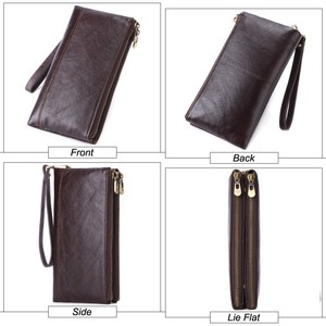 Image 4 - MISFITS Men clutch wallet genuine leather wallets for cell phone zipper clutch bag male cow leather long purse travel Portomonee