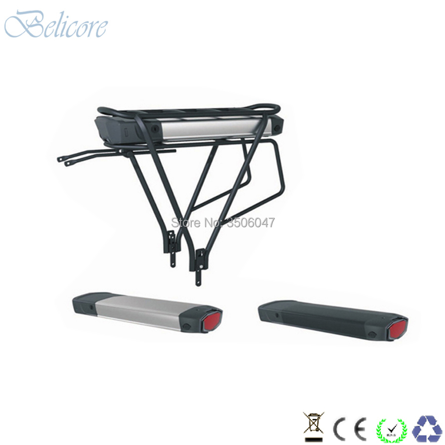 free shipping electric bike battery 36v 10ah 12ah rear rack e-bike battery with charger and luggage rack