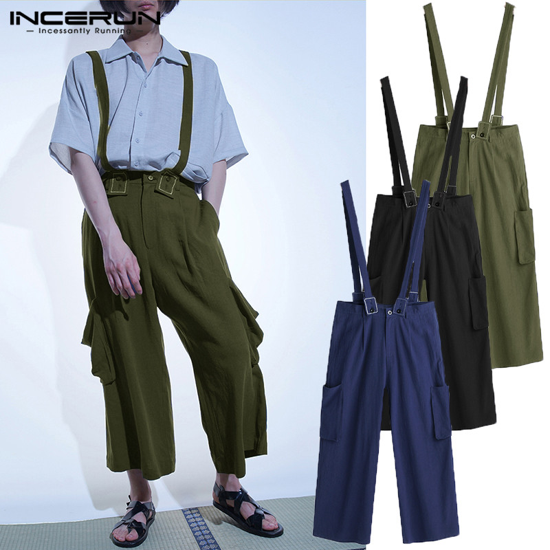 Brand Fashion Jumpsuits Men Pants With Strap Cotton Wide Legs Pant Streetwear Baggy Overall Rompers Pockets Button Ankle Length