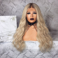 Long Ombre Brown Ash Blonde High Density Temperature Synthetic Wig For Black/White Women Glueless Wavy Cosplay lady Hair Wig