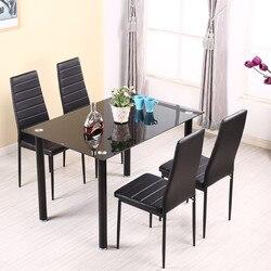 Conjunto de mesa de comedor Panana con sillas de 4/6 Uds. De piel sintética de metal fuerte acolchado para pierna asiento de cocina